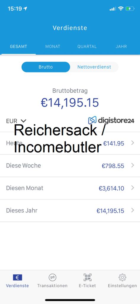digistore24 einnahmenuebersicht reichersack incomebutler